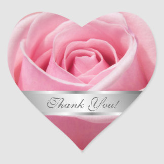 Pink Rose Flower Thank You Personalize Heart Sticker