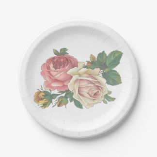 Pink Rose Flower Vintage Wedding Party Shabby Chic Paper Plate