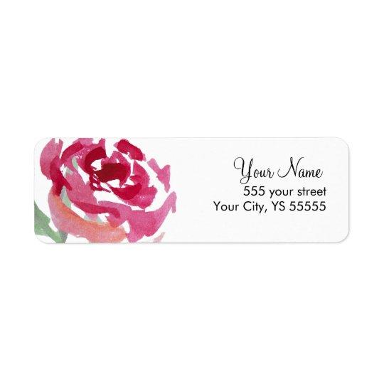 Pink Rose Flower Watercolor Design Return Address Label