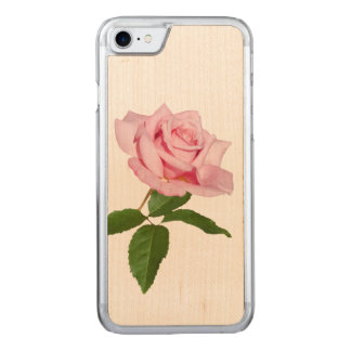 Pink Rose Flower with Dew Drops Carved iPhone 7 Case