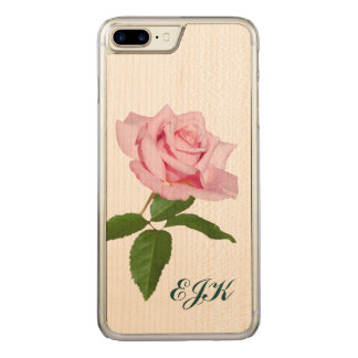 Pink Rose Flower with Dew Drops, Monogram Carved iPhone 7 Plus Case