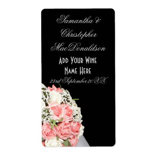 Pink rose flowers floral wedding wine bottle