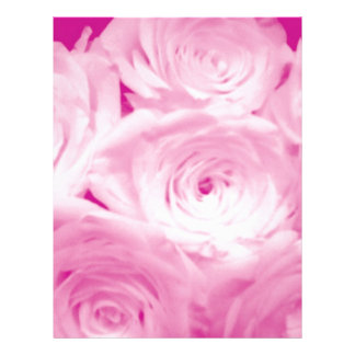 Pink rose flowers letterhead