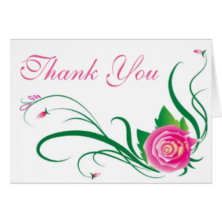 Pink Rose Flowers With Pink And Green Floral Card