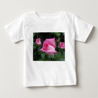 Pink rose flowers with water droplets in spring baby T-Shirt
