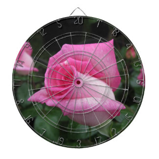 Pink rose flowers with water droplets in spring dartboard