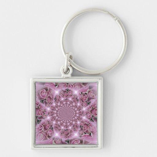 Pink Rose Fractals Keychain