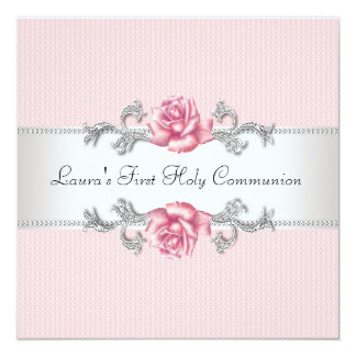 "Pink Rose Girls First Communion 5.25"" Square Invitation Card"