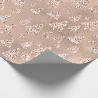 Pink Rose Glass Gold Glitter Christmas Tree Wrapping Paper