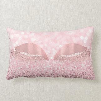 Pink Rose Glitter Crystals White  Makeup Lashes Lumbar Pillow