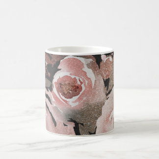 Pink Rose Glitter Roses Dark Floral Glam Elegant Coffee Mug