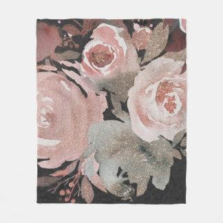 Pink Rose Glitter Roses Dark Floral Glam Elegant Fleece Blanket