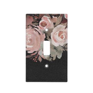 Pink Rose Glitter Roses Dark Floral Glam Elegant Light Switch Cover