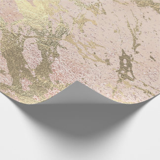 Pink  Rose Gold Abstract Molten Champaign Marble Wrapping Paper