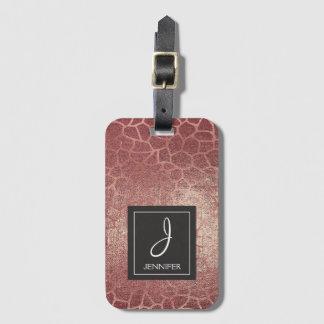 Pink Rose Gold Animal Print Elegant Monogram Luggage Tag