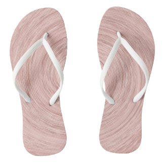 Pink Rose Gold Blush Abstract Lines Circles Wind Flip Flops
