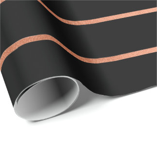 Pink Rose Gold Blush Black Stripes Lines Wrapping Paper
