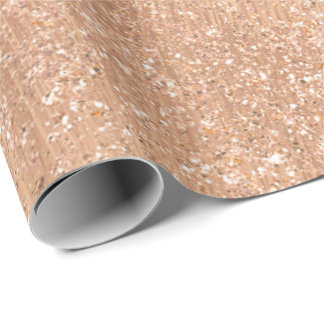 Pink Rose Gold Blush Copper Shiny Glitter Sparkly Wrapping Paper