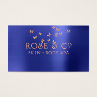 Pink Rose Gold Blush Emerald Blue Butterfly Business Card