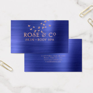 Pink Rose Gold Blush Emerald Cobalt 2 Butterfly Business Card