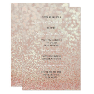 Pink Rose Gold Blush Glitter Champagne Minimal Card