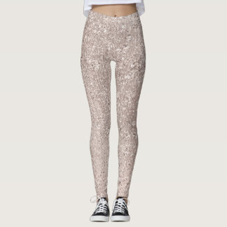 Pink Rose Gold Blush Glitter Ivory Titanium Glam Leggings