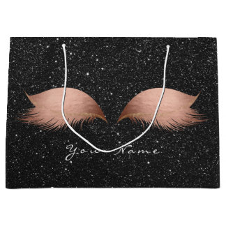 Pink Rose Gold Blush Glitter  Lashes Black  Makeup Large Gift Bag