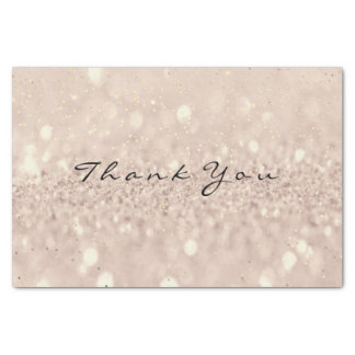 Pink Rose Gold Blush Glitter Thank You Blush Tissue Paper