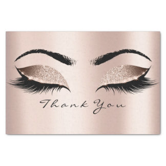 Pink Rose Gold Blush Glitter Thank You Eyes Tissue Paper