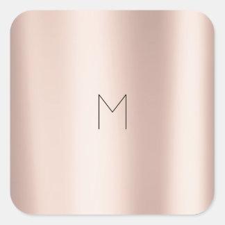 Pink Rose Gold Blush Metal Powder Minimal Monogram Square Sticker
