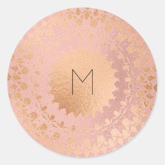 Pink Rose Gold Blush Metallic Mandala Monogram Round Sticker