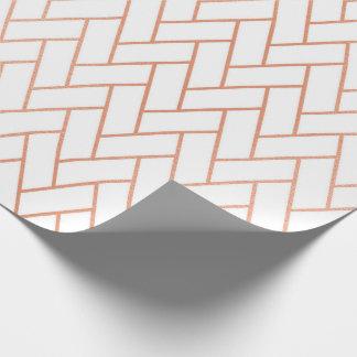 Pink Rose Gold Blush White Bricks  Zig Zag Wrapping Paper