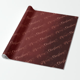 Pink Rose Gold Burgundy Merry Christmas Script Wrapping Paper