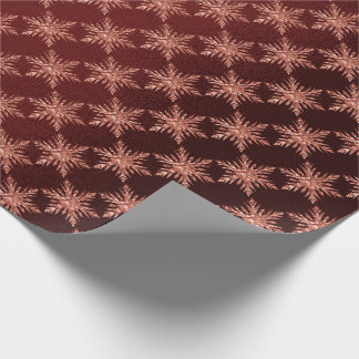 Pink Rose Gold Burgundy Merry Snowflake Wrapping Paper