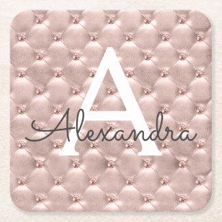 Pink Rose Gold Cute Vintage Monogram Birthday Square Paper Coaster