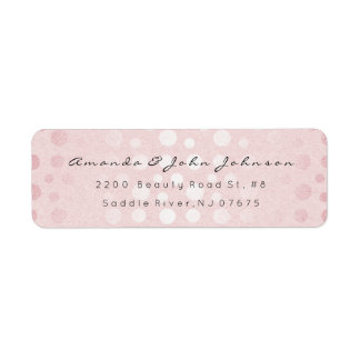 Pink Rose Gold Dots Brush Stroke Minimal Pastel Return Address Label