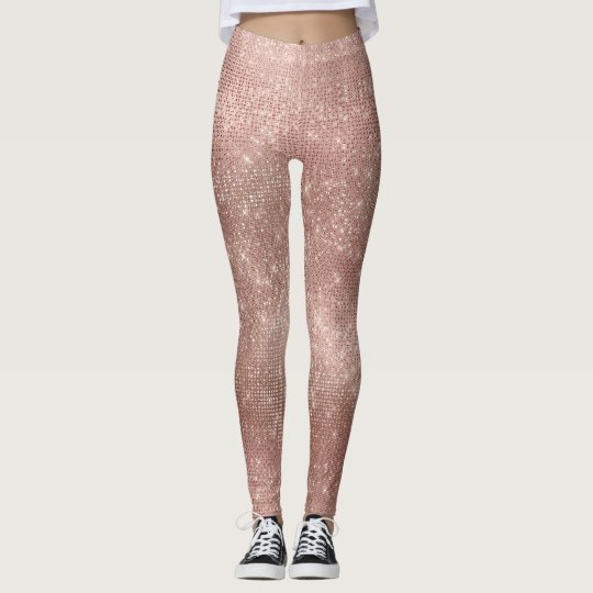 Pink Rose Gold Faux Brush Metallic Diamond Sparkly Leggings
