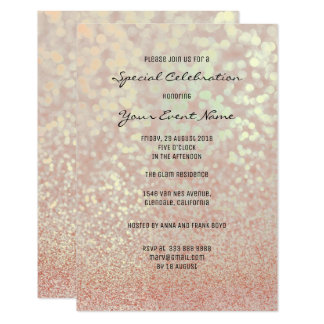 Pink Rose Gold Faux Glitter Champagne Minimal Card