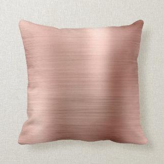 Pink Rose Gold Faux Powder Diamond Sequin Metal Throw Pillow