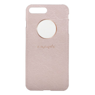 Pink Rose Gold Faux Textured Personalized iPhone 8 Plus/7 Plus Case