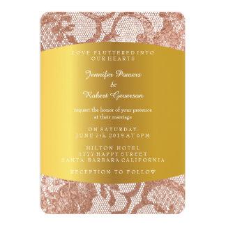 Pink Rose Gold Faux Wedding Royal Invitation