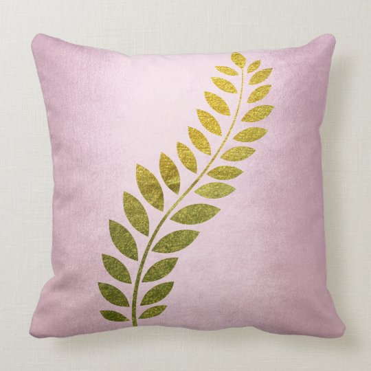 Pink Rose Gold Felice Leave Mustard Throw Pillow