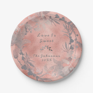Pink Rose Gold Floral Wreath Blush Name Rustic Paper Plate
