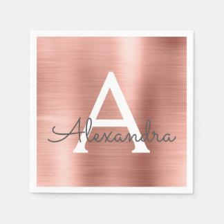Pink Rose Gold Girly Metallic Monogram Birthday Paper Napkins