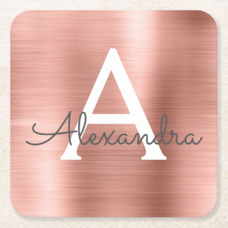 Pink Rose Gold Girly Metallic Monogram Birthday Square Paper Coaster
