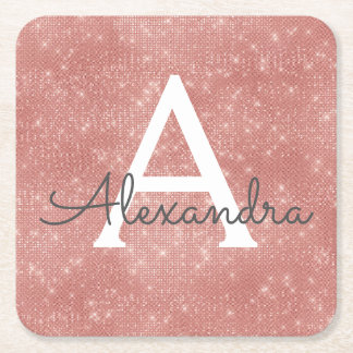 Pink Rose Gold Girly Sparkle Monogram Birthday Square Paper Coaster