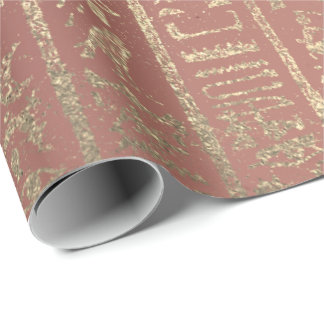 Pink Rose Gold Glass Egyptian Script Hieroglyphs Wrapping Paper