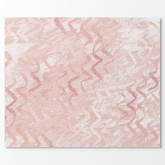 Pink Rose Gold Glass Zig Zag Stripes Lines Marble Wrapping Paper