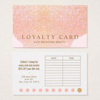 Pink Rose Gold Glitter 10 Punch Salon Loyalty Card