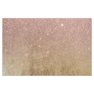 Pink Rose Gold Glitter and Gold Foil Mesh Fabric